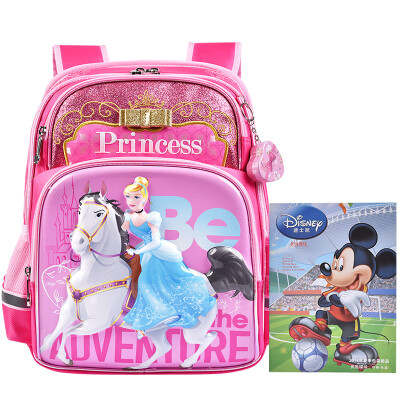 Disney children's school bag primary school student bag high-end burden shoulder bag snow white horse riding series girls backpack PB0350A rose