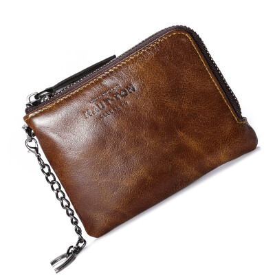 Haotton (HAUT TON) the first layer of leather wallet men's card package business leisure purse QB228 oil wax brown