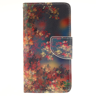 Colorful flowers waterdrop Design PU Leather Flip Cover Wallet Card Holder Case for SAMSUNG Galaxy A7 2016/A7100