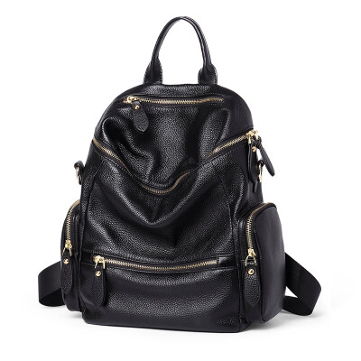 NAWO Women's Shoulders Bag Casual Travel Backpack Female Large Capacity First Layer Leather Fashion Simple Leather Bag NW6162101 Black
