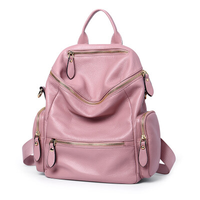 NAWO ladies shoulder bag leisure travel backpack female large capacity first layer cowhide fashion simple soft leather bag NW6162101 pink