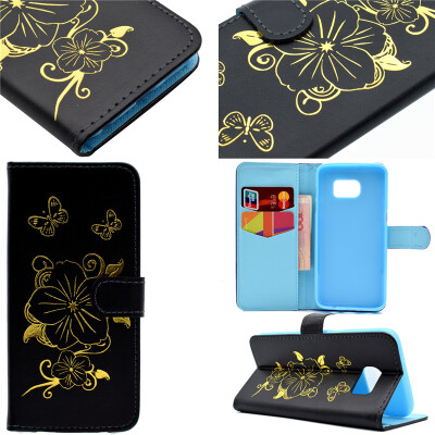 Black Hot Stamping Foil Gold Design PU Leather Flip Cover Wallet Card Holder Case for Samsung GALAXY S7 Edge