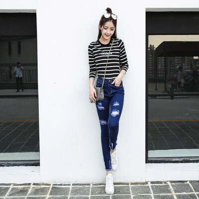 VIVAHEART Korean casual high waist stretch nine points cave jeans female pencil pants VWKN171134 blue 26