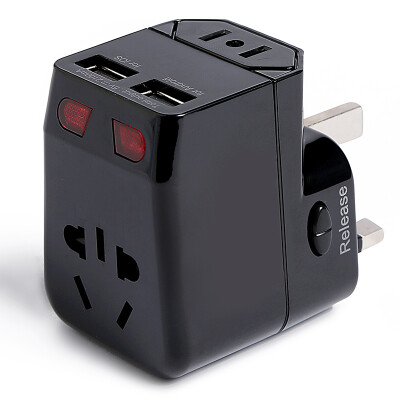 40,000 km Universal multi-function plugs double 2usb conversion plugs abroad travel universal USB charger to go abroad Hong Kong, Macao and Taiwan Europe Japan travel supplies SW6009 black