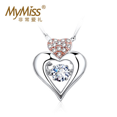 Mymiss Swarovski zircon necklace female 925 silver love pendant clavicle chain happiness with silver