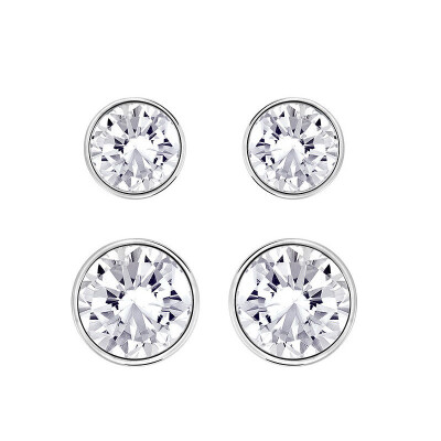 SWAROVSKI SWAROVSKI PLATED WHITE COLOR PUNNING EARRINGS SET