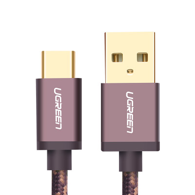 Green Union fast charge Type-C data cable mobile phone charging line Andrews USB charger line power cord support Huawei P9 glory 8 millet 6/5 music as 1 meter 40429 deep coffee