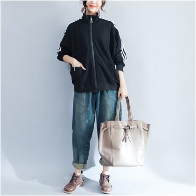 2017 autumn new large size women's jacket plus fertilizer to increase the solid color zipper cotton sweater