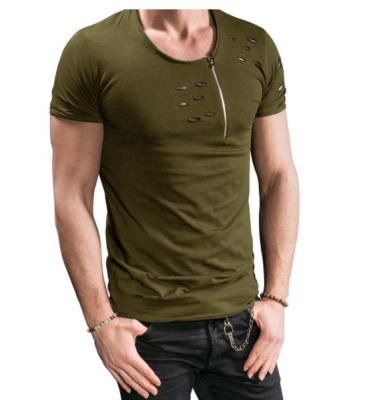 Male 2017 Brand Short Sleeve Zipper Solid Color T Shirt O- Neck Slim Men T-Shirt Tops Fashion Mens Tee Shirt T Shirts 3XL FGH