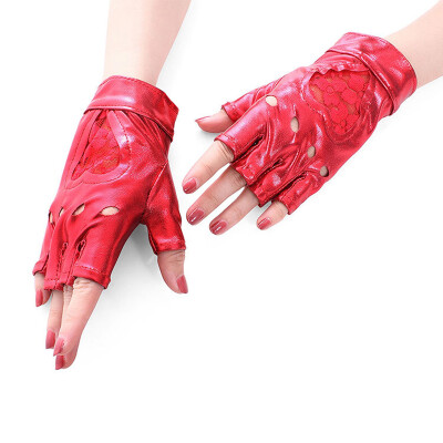 Sexy patent leather gloves half touch lace heart gloves new dynamic hip-hop trend gloves stage performance fun