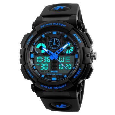 The United States at any time beauty skmei watch men sports watch double display student luminous electronic watch 1270 blue