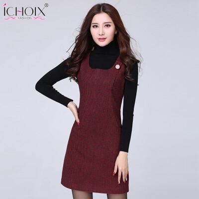 2017 Autumn Winter Woolen vintage Midi Dress New Vest Plus Size Plaid Dress Houndstooth Slim Sexy Office Women Red Gray Vestidos