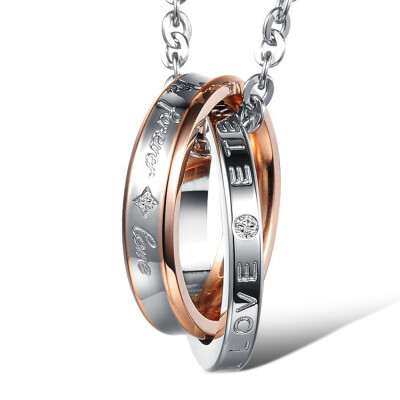 "Fashion EU Style ""Forever Love"" Pendant Necklace Set Stainless Steel Lovers Couple Promise Clavicle Chain Jewelry Gift"