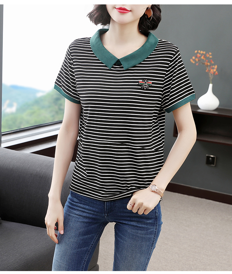 红粉宣言2020夏季新款百搭条纹短袖T恤女宽松条纹3XL