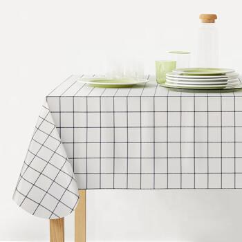 FOOJO防水防油桌布 免洗PVC桌布簡約餐桌布藝隔熱餐桌墊 135*180cm 黑白格