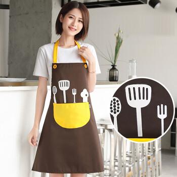 FOOJO背心式圍裙 防水防油可愛時尚男女韓版圍裙罩衣 咖+黃