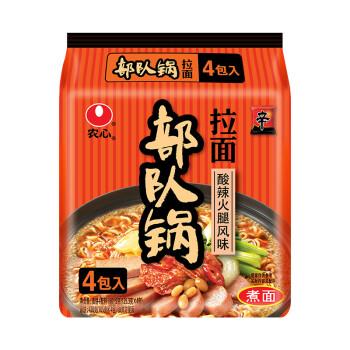 農心(NONG SHIM) 酸辣火腿風味韓式部隊鍋拉面 方便面 袋面速食零食品 四連包 130g*4包