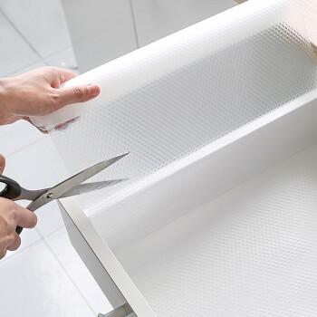 FOOJO可裁剪水洗抽屜墊紙 pvc防水防油桌布餐墊 辦公書桌抽屜墊 鞋柜衣柜防塵墊紙 45*150cm透明白