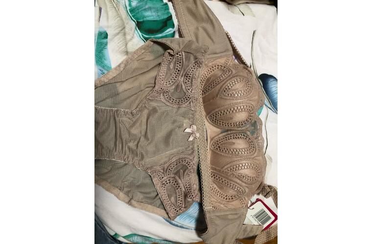 法国KJ文胸套装无钢圈聚拢内衣调整型收副乳简约无痕一片式少女胸罩灰蓝色34/75