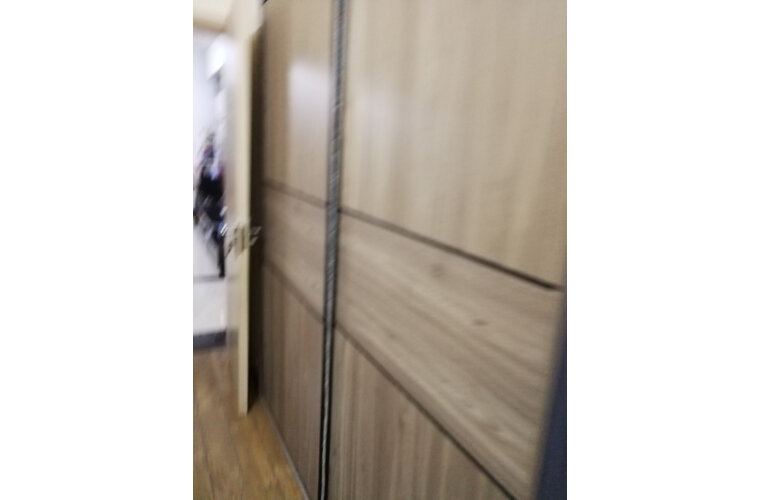 林氏木业衣柜北欧推拉门衣柜小户型家用卧室衣橱组装DV2D【灰木色】DV2D-B趟门衣柜