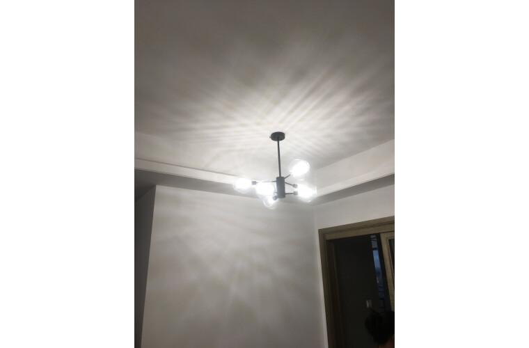 欧普照明(OPPLE)后现代吊灯客厅灯饰简约餐厅卧室大气北欧分子灯具朵拉黑色6头