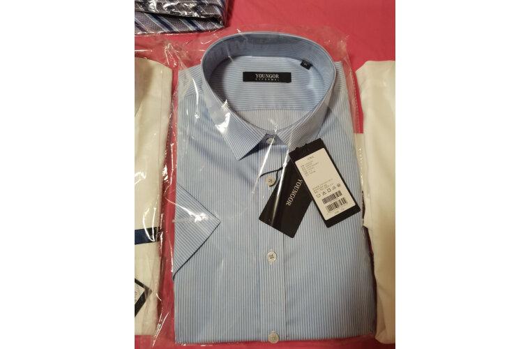 雅戈尔【免烫】衬衫男短袖衬衫男2020夏季新品条纹衬衫男商务休闲浅蓝条纹42