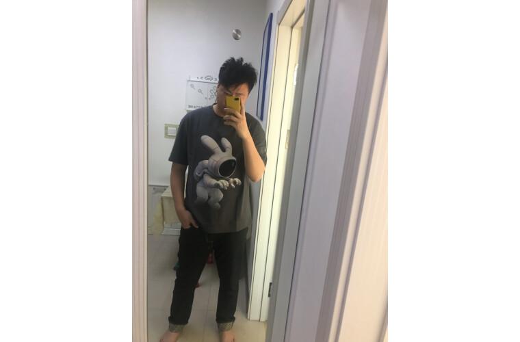 商场同款gxgjeans男装2020夏季新款t恤男个性卡通图案圆领休闲短袖T恤潮灰色B185/XXL