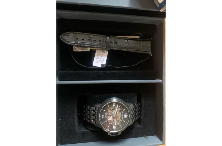 罗西尼(ROSSINI)手表男勋章系列酷黑机械表男士手表21mm黑皮padi礼盒517793B04D