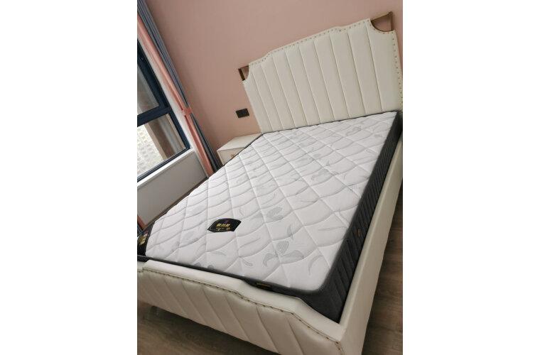 尊范床实木床脚1.8米后现代轻奢主卧双人床1.5米皮床港式家具床+床头柜2个+床垫1800*2000普通排骨架