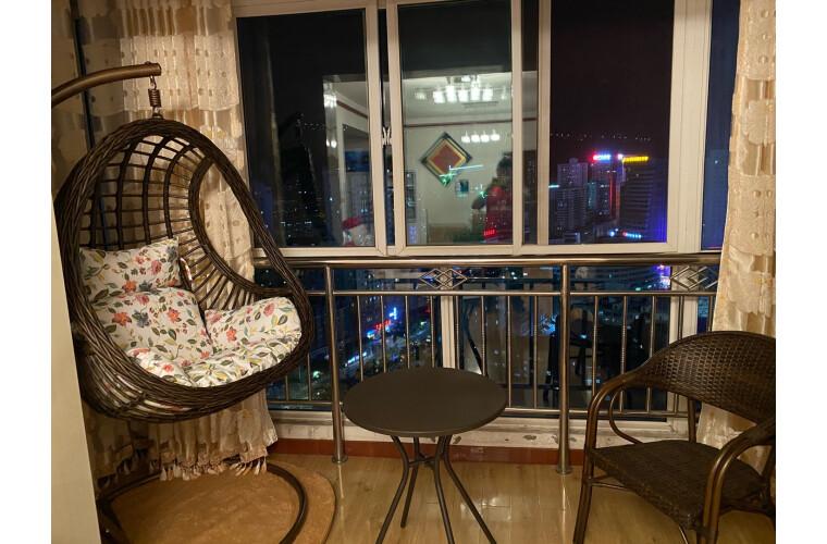 紫叶(ziye)吊椅吊篮吊床室内阳台秋千宿舍吊篮藤椅摇篮椅成人秋千蚕豆升级款-仿木纹色【含坐垫地毯】