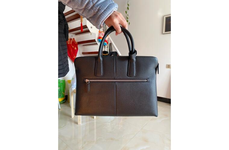 金利来(Goldlion)公文包头层牛皮休闲手提包时尚男包横款电脑包大容量商务包黑FA118363-511