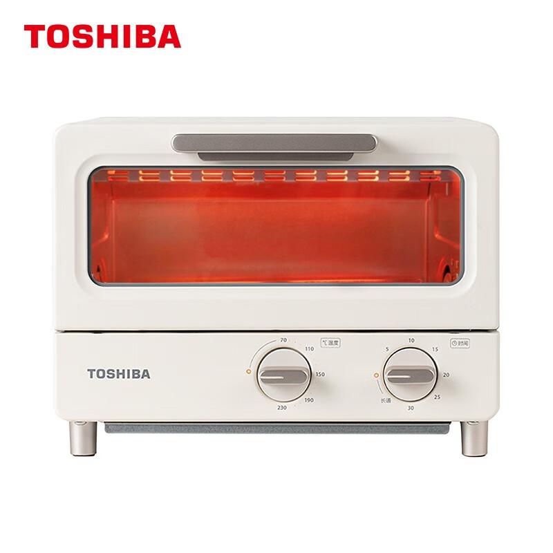 东芝 TOSHIBA 家用台式智能电烤箱 8升 网红烤箱 机械式操作 精准控温 专业烘焙烘烤 电烤箱 ET-TD7080 杏色