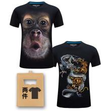 K L B ZHE 短袖 男士T恤 大脸猩猩+龙虎 S,XL,L,XXXL,XXL,加大,M
