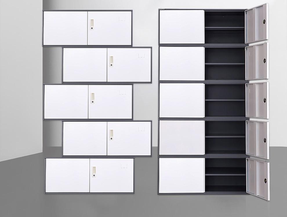 震海五节柜文件柜铁皮柜凭证柜办公柜资料柜储档案柜分体财务票据柜钢制物柜带锁0.8mm加厚五节凭证柜灰套白(满1件包安装)