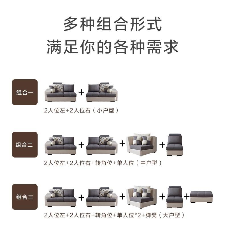 全友家居现代简约沙发布艺可拆洗多功能组合沙发大小户型客厅家具102117布艺沙发(单人位+左2+右2+转角位)