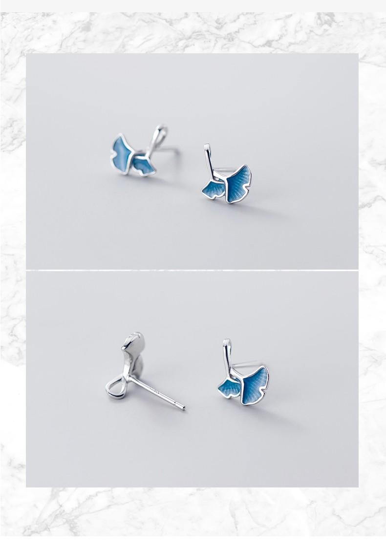 alivinee 阿莉维妮 S925银镀18K蓝色银杏叶耳钉 森系中国风风叶子复古风学生耳环女士耳坠 蓝色银杏叶耳环(配银耳塞)