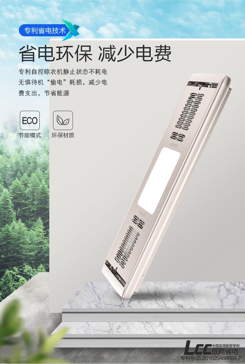 好太太电动晾衣架升降智能自动遥控晾衣机阳台照明风干消毒室内外晒衣架 D-3026T香槟色+16个铝合金衣架