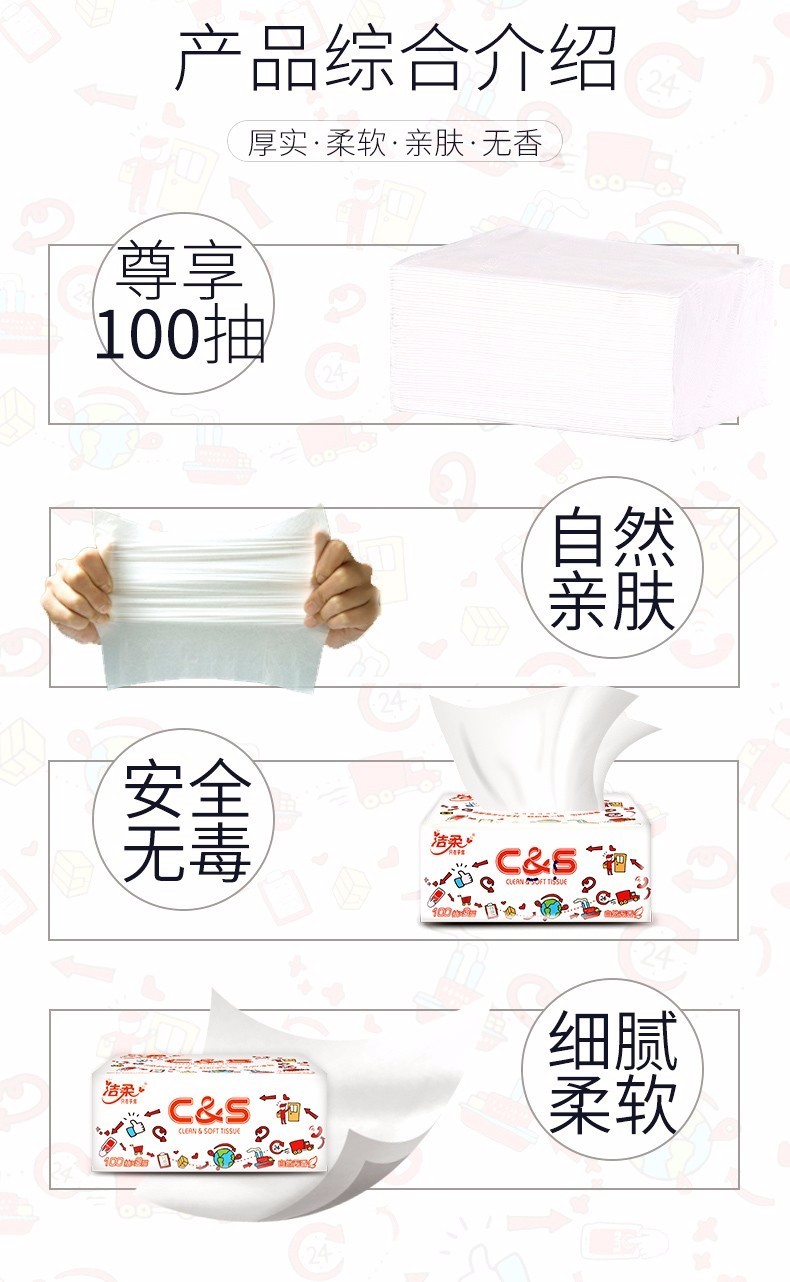 88829-洁柔卡通抽纸3层100抽24包母婴用可湿水卫生纸婴儿无香餐巾纸抽纸整箱擦手纸-详情图