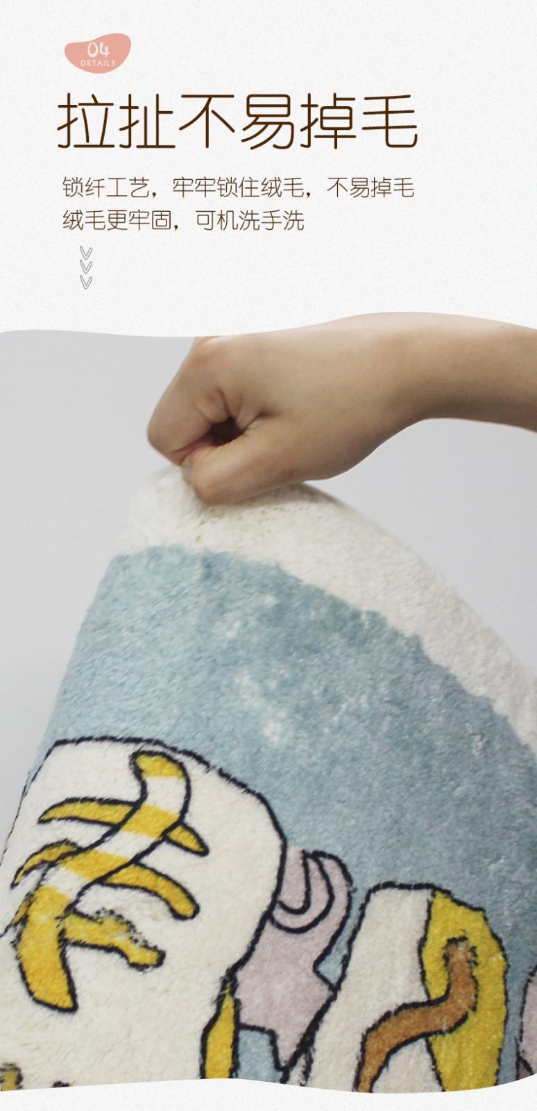 88870-慧希仿羊绒吸水地垫浴室卫生间防滑脚垫子入户门进门防潮门口家用门垫 蓝色鲸鱼(升级加厚款-仿羊绒) 40*60cm-详情图