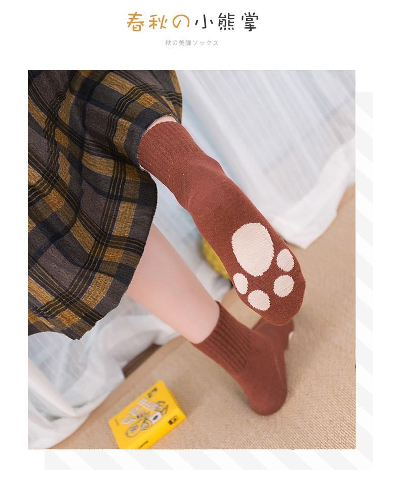 88551-宝娜斯袜子  女士中筒棉袜  秋冬加厚休闲吸汗透气女士中筒袜四季款 5色10双  熊掌袜-详情图