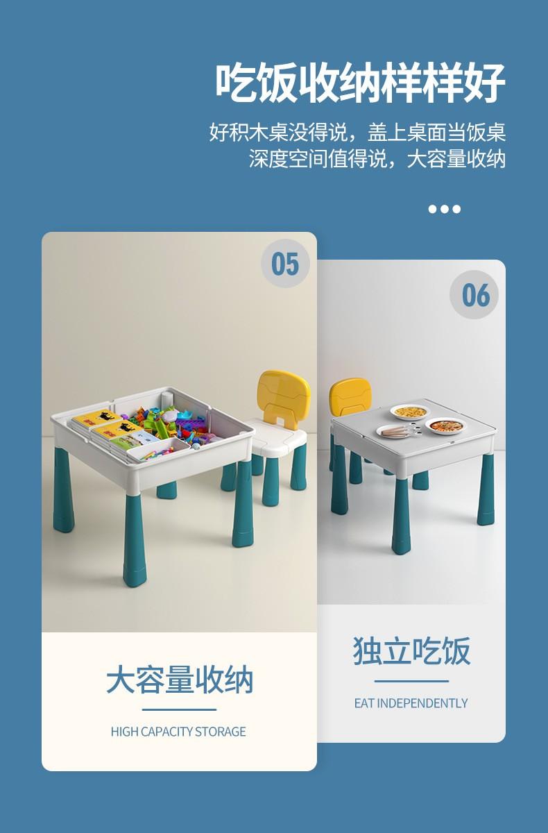 jmz活动专享大颗粒积木桌优品长桌 正方桌  兼容各种积木桌多功能大颗粒拼装男女小孩儿童玩具宝宝 51*51*50大尺寸积木桌+凳子各一只+配件