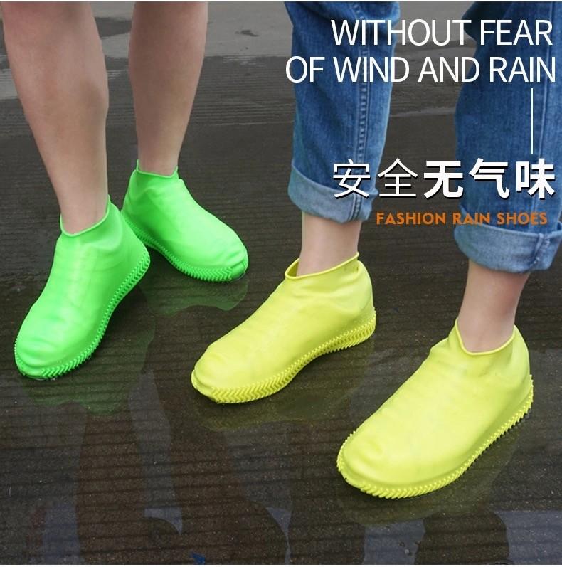 88880-布兰格迪  加厚硅胶防水雨天雨鞋套防滑耐磨成人男女下雨便携防雨水鞋套儿童 【小号S+大号L】两双-详情图