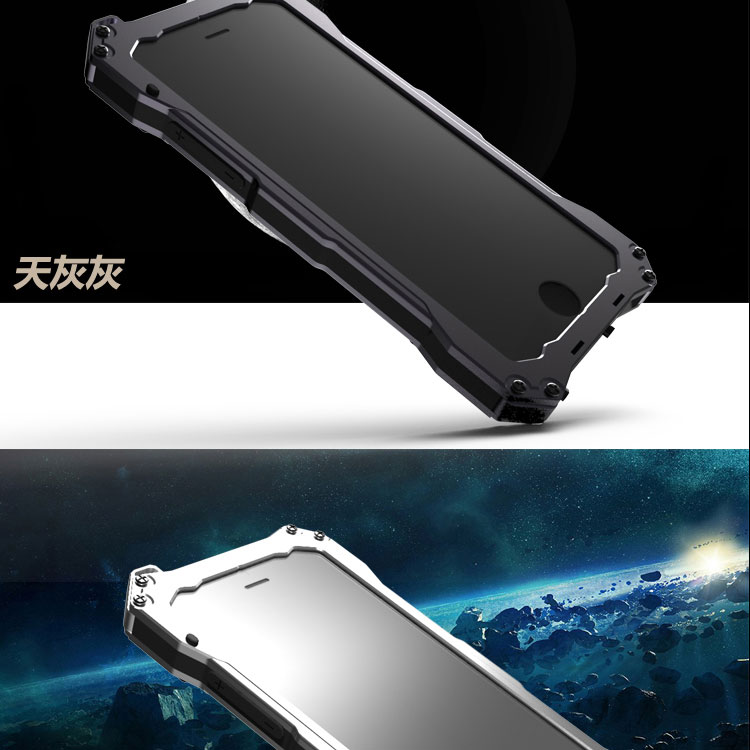 S.CENG Gundam Water Resistant Dustproof Shockproof Silicone Gorilla Glass Aluminum Alloy Metal Case Cover for Apple iPhone 6S