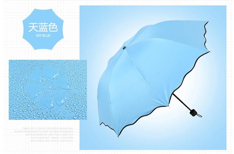 亲海晴雨两用雨伞 加厚男女两用雨伞防晒折叠太阳伞 学生女士遮阳伞创意伞 大号 遇水开花/晴雨两用雨伞【颜色款式随机1把装】
