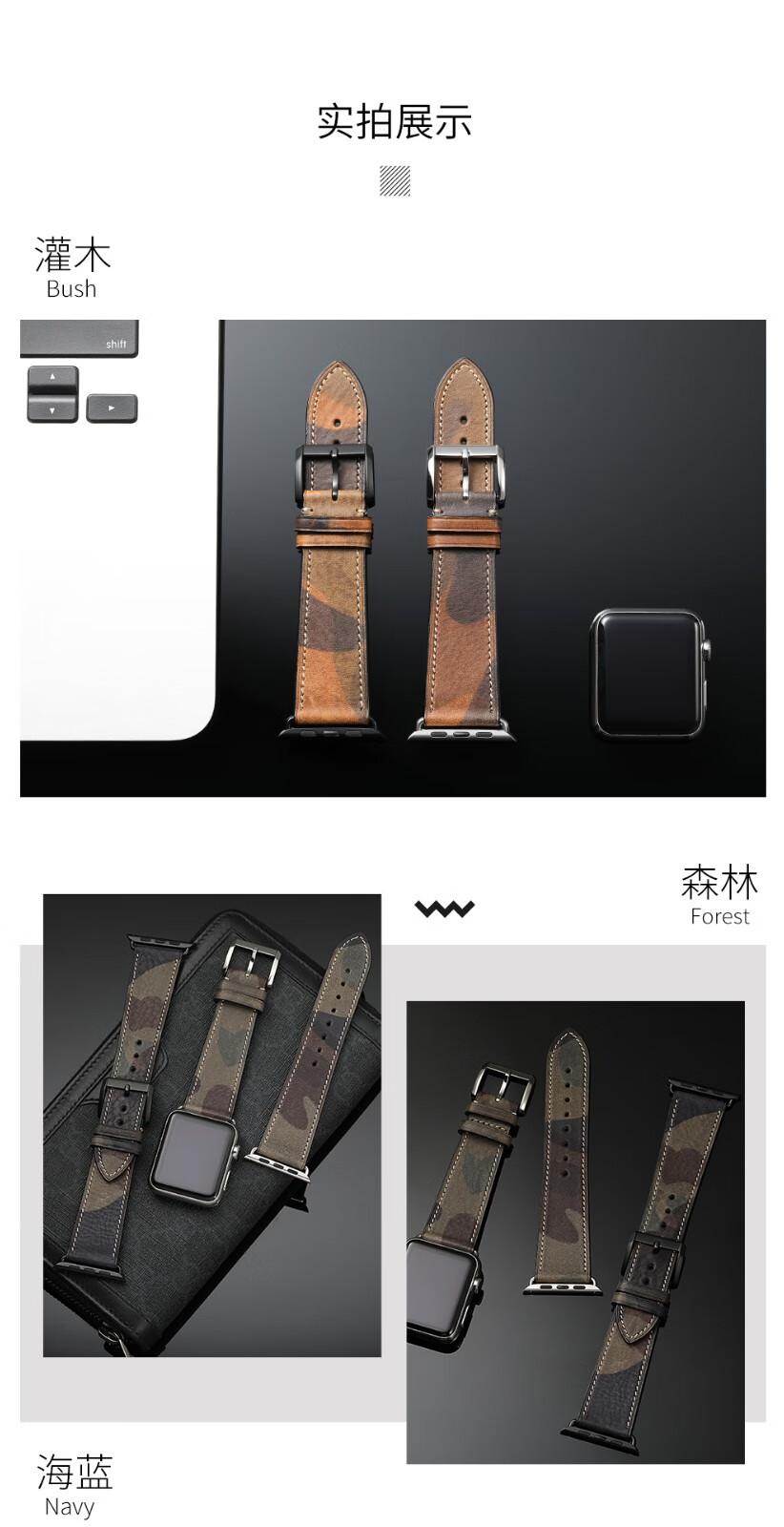 CHIMAERA苹果手表表带appleiwatch表带watch4/3/2/1代男女通用苹果表带海蓝米白线丨黑色配件42/44mm