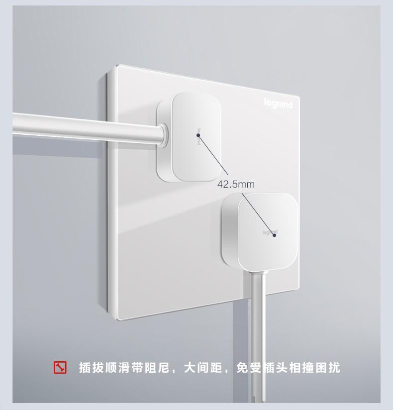 罗格朗legrand开关插座面板 仕典系列玉兰白色五孔插座开关套餐 错位五孔插座(斜)