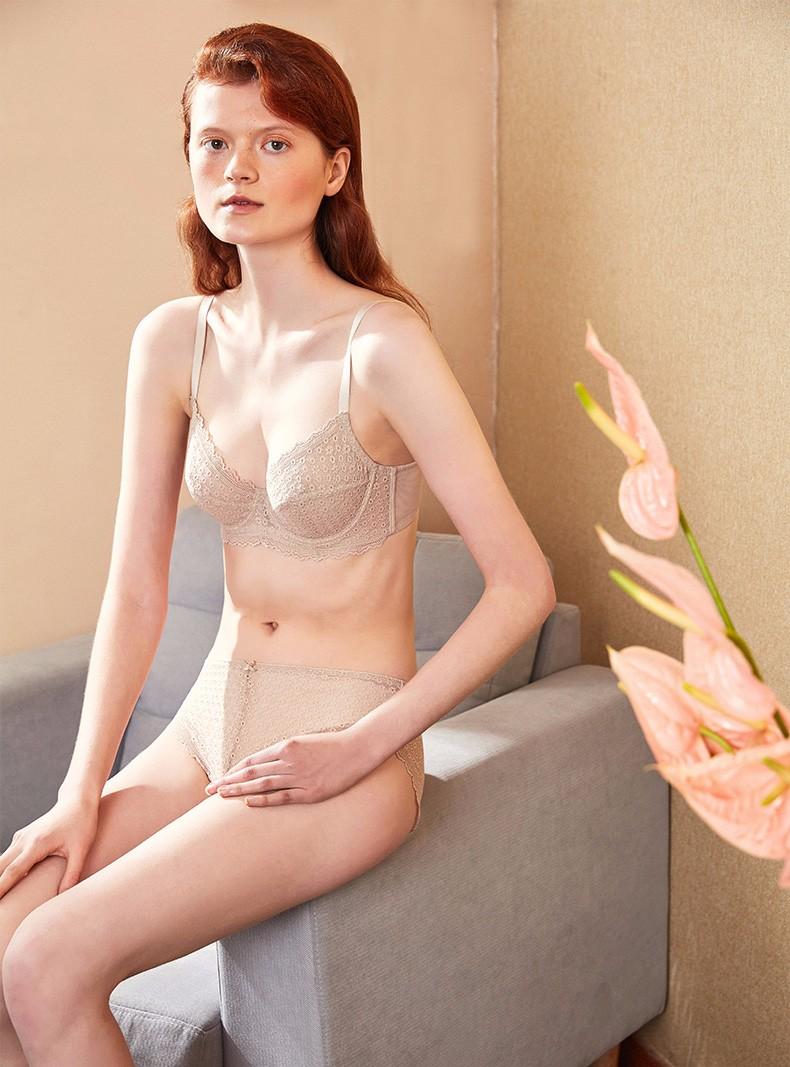 【商场同款】HSIA遐春夏超薄大码内衣女性感蕾丝夏季无痕全罩杯薄款显胸小文胸肤色85C/38C