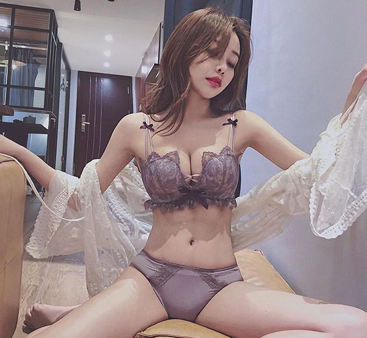 绮罗密语内衣女士聚拢无钢圈文胸蕾丝上托性感套装调整型胸罩少女收副乳防下垂小胸绿色(单文胸)36B=80B