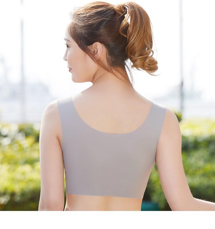 一片式日本无钢圈文胸聚拢防滑少女无痕背心式运动内衣女套装薄款防震睡眠胸罩跑步学生瑜伽抹胸肤色+灰色(2件装)L(80ABCD-36ABCD)