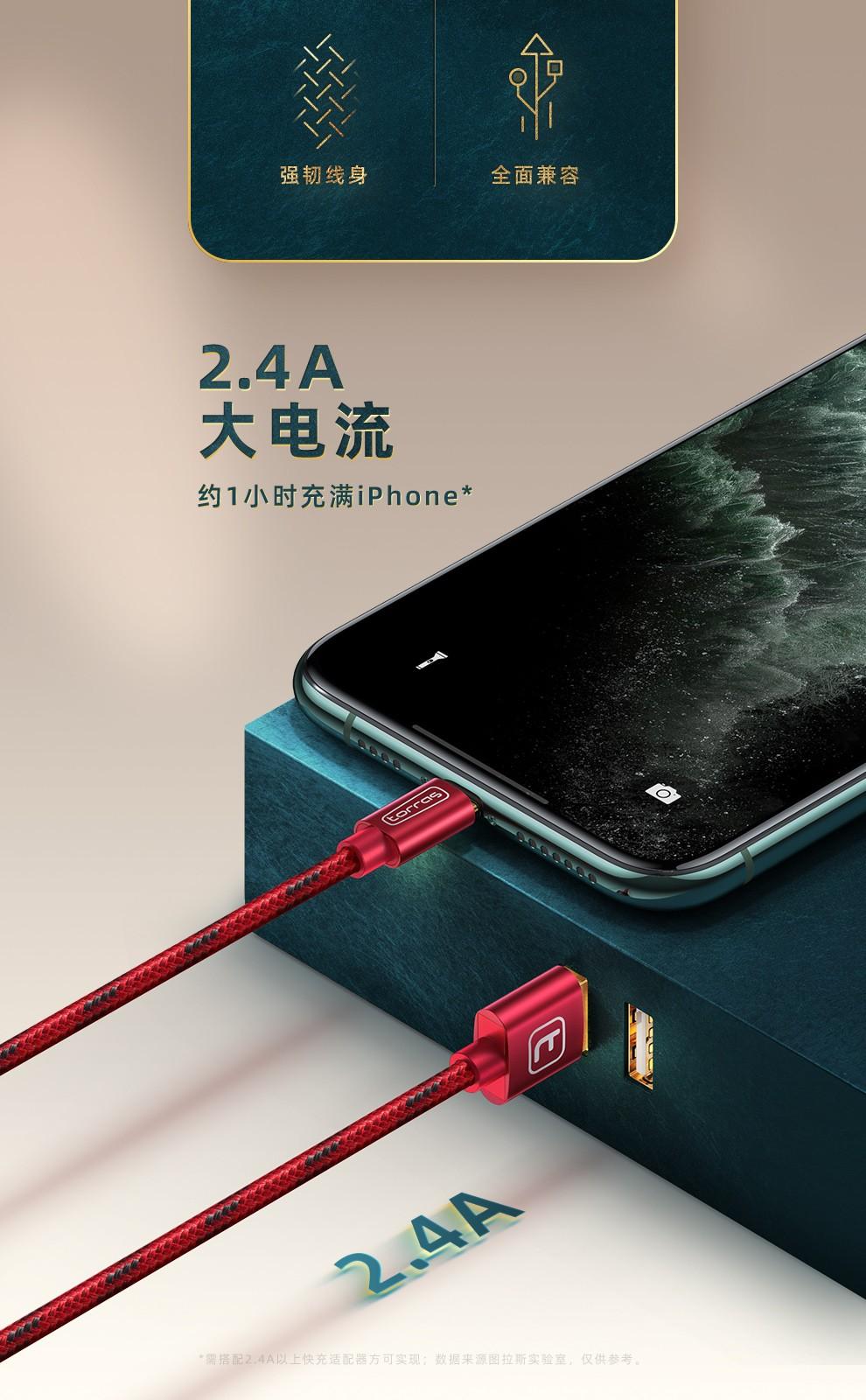88901-图拉斯 苹果数据线手机快充USB充电器线iPhone 13 Pro Max/12/11/iPad 1.68米【快不伤机丨耐用不弹窗】-详情图